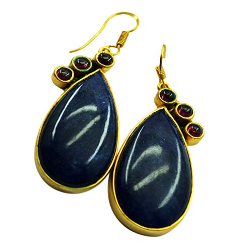 Jewelryonclick Natural Fashion Multi Stone Earring For Women Gold Plated Pear Shape Jewelry Handmade Gift