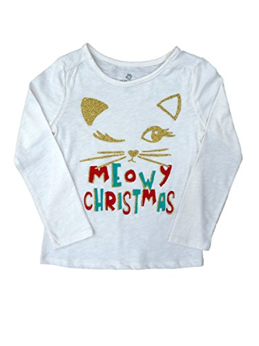Okie Dokie Girls Meowy Christmas! Ivory Holiday Shirt Christmas Cat T-Shirt Large (6)