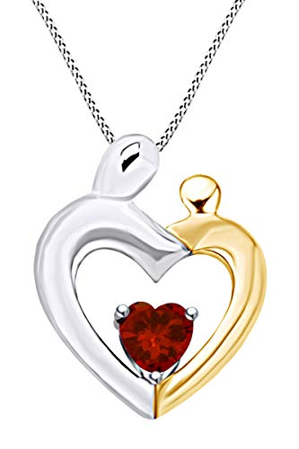 (AFFY Mothers Day Jewelry Gift Heart Cut Simulated Garnet Two Tone Mom and Child Pendant Necklace in 14k White Gold Over Sterling Silver)