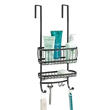 mDesign Estantería de ducha para colgar sobre la mampara – Práctico colgador para ducha sin taladro