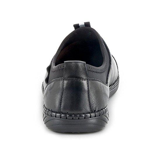 NIUMJ Testa Rotonda Maschi Traspirante Scarpe Scarpe Pescatore da Moda Pelle di Moda Casuale Black Cuoio rWnrgqAF