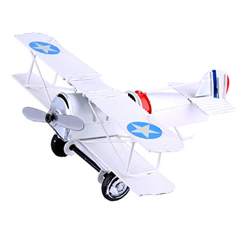 Berry President(TM Vintage Retro Wrought Metal Iron Biplane Plane Aircraft Handicraft Models - Photo Props home Decor/ornament/souvenir (White) from Berry President