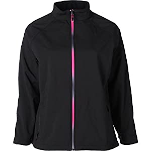 Ideology Womens Plus Water Resistant Mock Neck Soft Shell Jacket Black 1X