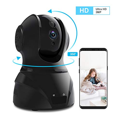 2.4g Wireless Video Audio - Home Security Camera Wi-Fi IP Camera, Wonbo Wireless HD 3MP Pan/Tilt/Zoom 2.4G with 2-Way Audio, Motion Detection, Night Vision, Auto-Cruise, Remote Monitor for Baby Pet Elder (Android/iOS)