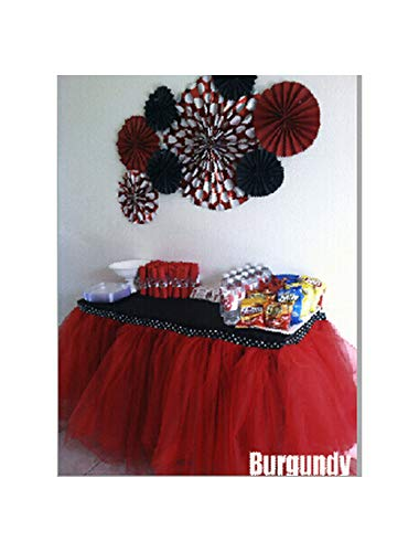 HuangKang 100X100Cm Tulle Tutu Table Skirt Baby Shower Tulle Table Skirt Event Party Supplies Wedding Decor 29 Colors,Burgundy,100X100 cm from HuangKang