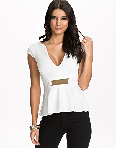 NLY One Women's Gold Trim Peplum Top White Size Medium 89% polyester and 11% elastane.
