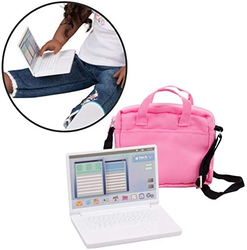 Metal Computer Laptop with Carrying Bag for American Girl and other 18 in dolls - Durable Metal Construction