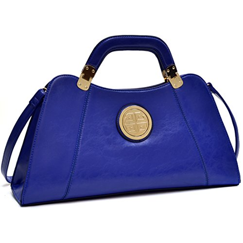 Dasein Flat Bottom Emblem A-Symmetrical Handbag Designer Shoulder Bag w/ Removable Shoulder Strap (glossy royal blue-new)