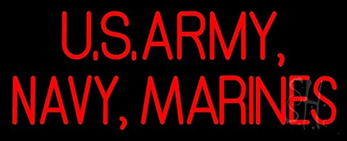 - The Sign Store N105-10245-clear US Army Navy Marines Clear Backing Neon Sign44; 13 x 1 x 32 in.