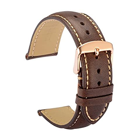 WOCCI 20mm Watch Band Replacement Dark Brown Vintage Leather Watch Strap with Rose Gold Pins Clasp and (Metal Watch Bands Replacement)