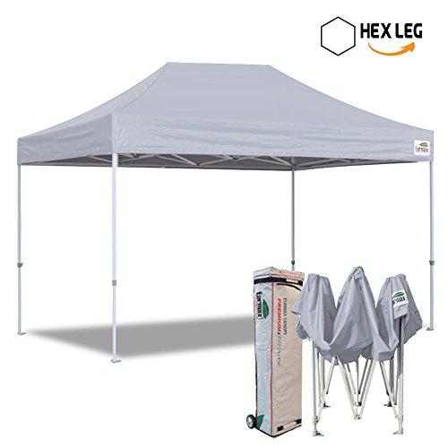 Eurmax 10×15 Ft Premium Ez Pop up Canopy Instant Shelter Outdoor Party Gazebo Commercial grade Bonus Roller bag (Grey)