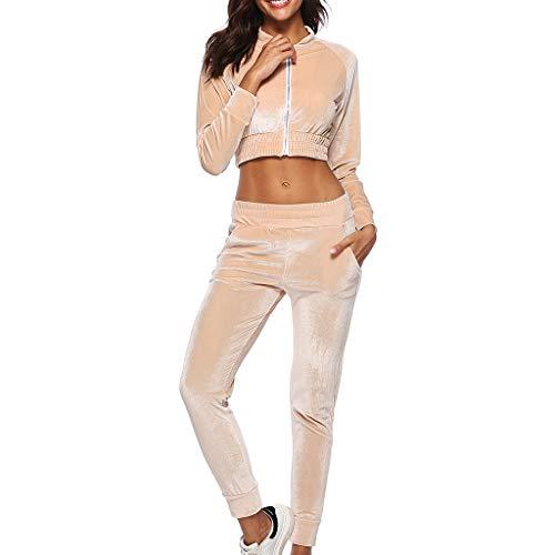 Sunward Women's Long Sleeve Casual Sport Soft Active 2 Piece Velour Full Zip Crop Top & Pants Tracksuit Set (S, Khaki)