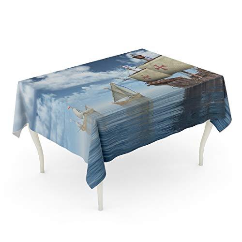 Tarolo Rectangle Tablecloth 60 x 102 Inch Blue Columbus Santa Maria Nina and Pinta of Christopher Columbuscomputer Generated 3D Ship Caravel Table Cloth
