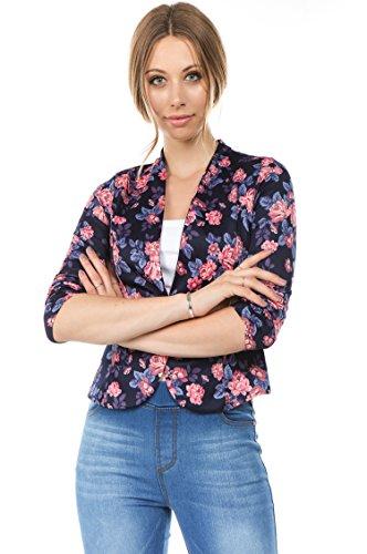 (Bubble B Women's Plus Size Floral Print Blazer Button Front Jacket Navy Blue 2X)