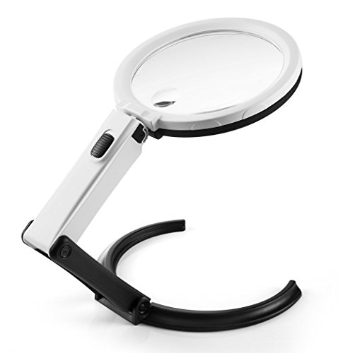 """AboveTEK 5.5 inch 2X Desktop & Handheld LED Magnifier - Convertible Folding Design with 10 LED Lamp - Powered by 2 AA Battery or 110V Adapter - Plus 1"""" 5X Aux Lens - Best Reading Working Magnifying"""