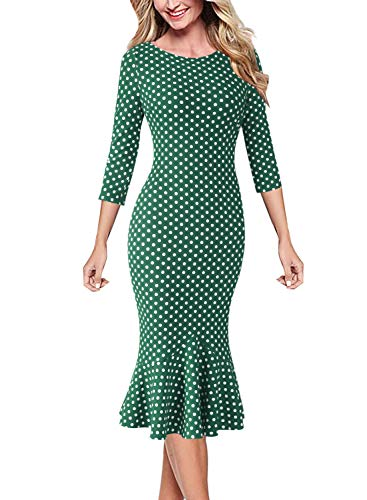 VFSHOW Womens Elegant Vintage Cocktail Party Mermaid Midi Mid-Calf Dress 1663 GRN ()