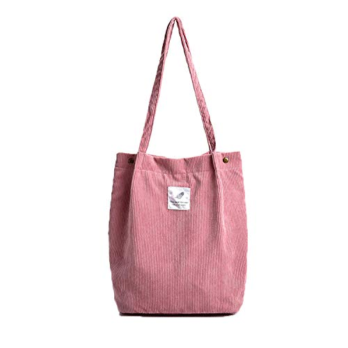 Corduroy Totes Bag - WantGor Women's Shoulder Handbags Big Capacity Shopping Bag (Pink)