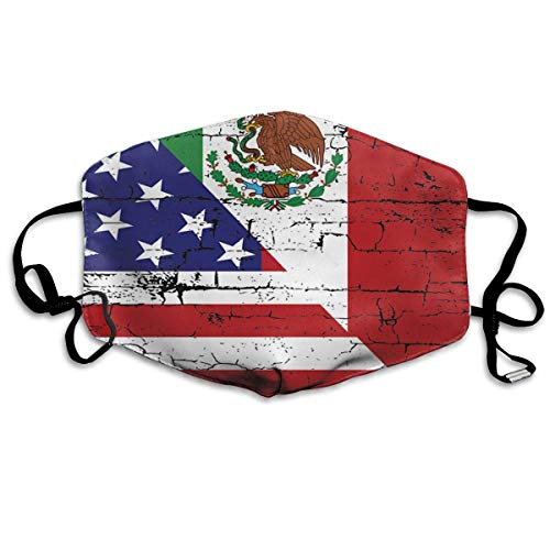 Women & Men Cool Earloop Half Face Face Masks Mouth Mask Dustproof Mouth-Muffle - Soft Windproof Running Mouth Mask for Kids Youth Boys Girls (USA Mexico Flag) ()