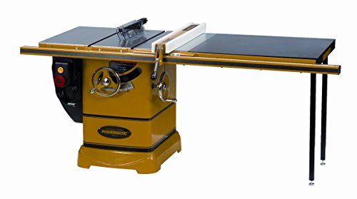 powermatic 1792000k model pm 3 horsepower cabinet saw with 50inch accufence 2 cast iron extension wings table board and legs 230volt 1 phase