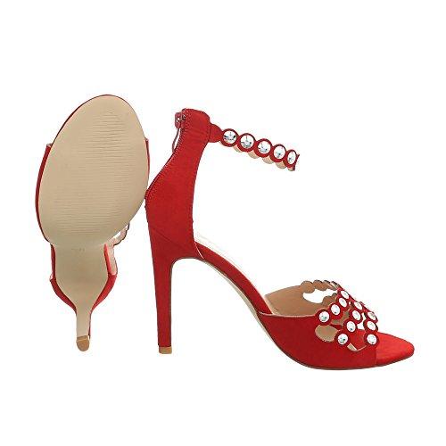 Damen Schuhe Sandaletten Nieten Besetzte High Heels Pumps Rot