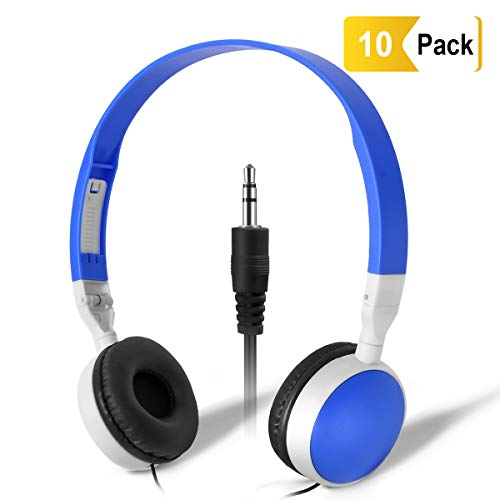 Wholesale Bulk Headphones Classroom Earbuds - Keewonda (KW-X10) 10 Pack Kids Headphones in Bulk Foldable Headsets for School,Computer Lab, Library,Hospital, Museums, Testing Centers, Hotels
