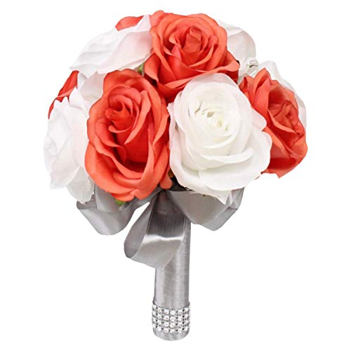 (Angel Isabella, LLC Artificial Rose Bouquet-1 Dozen Roses Ready to use -Toss Bridesmaid Maid of Honor Silk Flowers (Coral White NO Rhinestones))