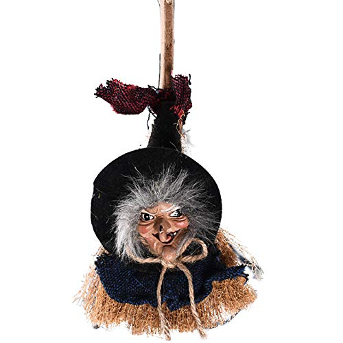 SAIrch Broom Witches, Happy Halloween Decorations Witches Broomsticks Hang String Toys Small Haunted Straw Broom, for Halloween Party, Masquerade]()