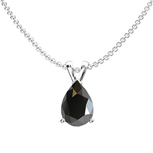 Dazzlingrock Collection 10K 8x6 mm Pear Cut Black Sapphire Ladies Solitaire Pendant (Silver Chain Included) 1CT, White Gold (1 Ct Pear Solitaire)