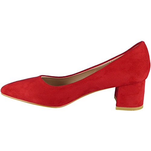 Loud Look Womens Faux Suede Office Work Pointed Toe New Mid Heel Court Shoes Size 3-8 Red brJgFpoId
