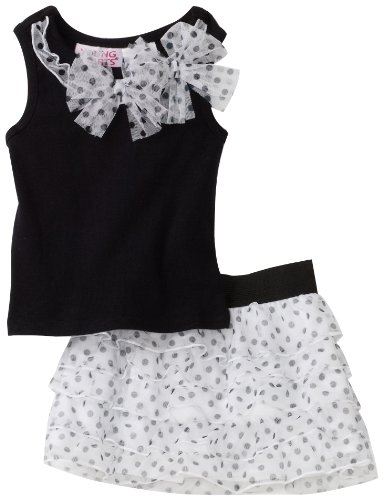 Young Hearts Baby Girls' Dotted Rib Top With Mesh Skooter Set, Black, 24 Months