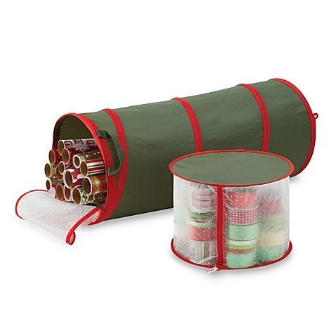 Pop-up Gift Wrap & Ribbon Organizer in Green and White with Transparent Zippered Top