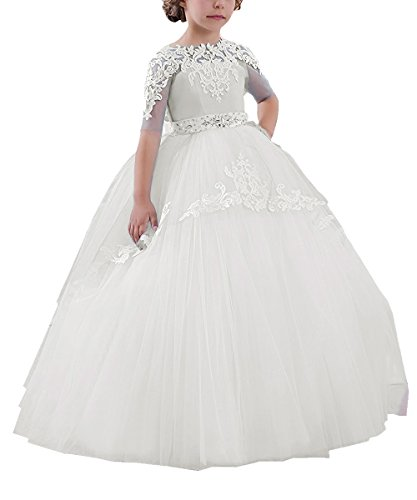Flower Girls Long First Communion Dresses Kids Pageant Prom Ball Gowns(Size 8, -
