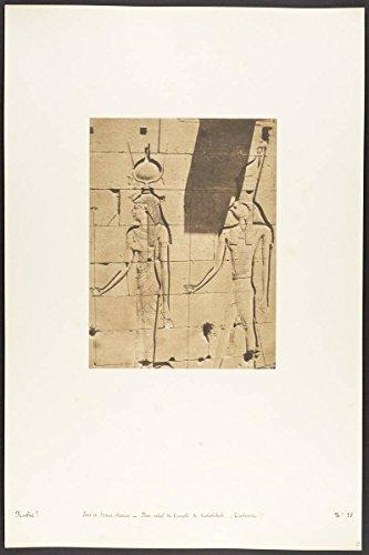 Historic Photograph | Maxime Du Camp | Isis et Horus-Arsiési - Bas-Relief du Temple de Kalabcheh (Talmis) | Vintage Wall Art Décor Poster Reproduction | 16in x ()
