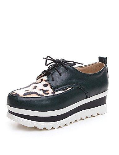 ZQ Zapatos de mujer - Plataforma - Plataforma / Creepers / Punta Redonda - Oxfords - Casual - Semicuero - Negro / Blanco , white-us8 / eu39 / uk6 / cn39 , white-us8 / eu39 / uk6 / cn39 green-us6 / eu36 / uk4 / cn36