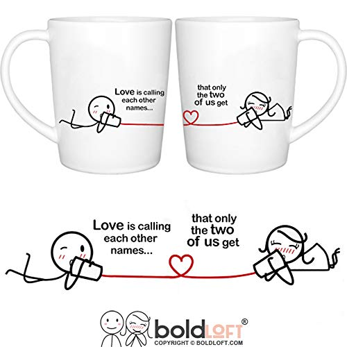 BOLDLOFT Between You & Me His and Hers Coffee Mugs-Couple Coffee Mugs,Couple Gifts, Valentines Day Gifts for Boyfriend, Valentines Gifts for Girlfriend, Anniversary Gifts for Couple, Love Gifts