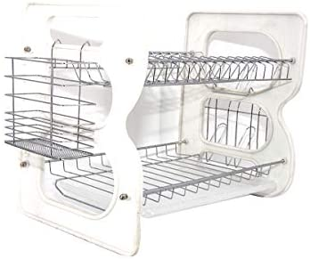 1 Layer Dish Drainer (Silver/White)