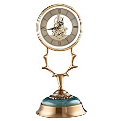 Vintage High-end Clock/Metal Desk Clock, Alloy Antler Shape, Hollow Mechanical Design, Silent Movement, Designed for Modern Home Decoration, Green, (Size: 16.5×16.5×35.5cm)