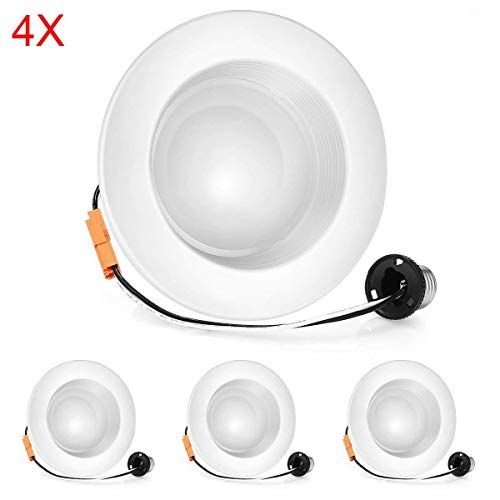 VANSENG (4 Pack)4 Inch LED Recessed Lighting Dimmable Downlight, 5000K (Daylight White),11W (100W Replacement),CRI90+, Retrofit Lighting Fixture,Great for Cans Bathroom, Kitchen, Office