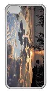 Customized iphone 5C PC Transparent Case - Beach Scene Sunset 7 Personalized Cover by heywan
