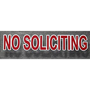 Premium 3 Pack pretty and best reviewed indoor static face cling on window glass No Soliciting sign decal stickers! Vivid red color like a stop sign, transparent to fit any background.
