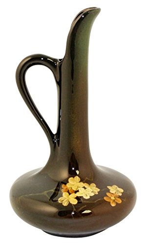 Owens Pottery Lightweight Yellow And Orange Floral Ewer Shape 837 (Robinson) (Floral Ewer)