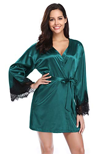 - Santou Satin Kimono Robe for Women Long Sleeve Lace Trim Bathrobes Sleepwear Nightwear Green