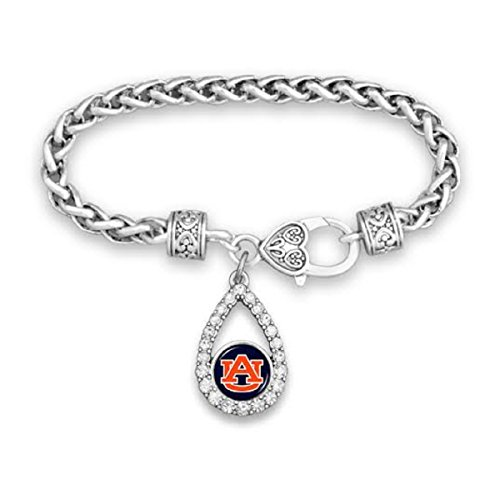 Auburn Tigers Teardrop Clasp Bracelet with Round Logo Embellished with Crystals