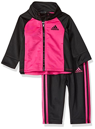 adidas Baby Girls Zip Jacket and Pant Set, Real Magenta, 3 Months