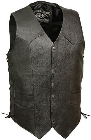 2Fit® Men/'s Black Cowhide Leather Classic Motorcycle Side Laces Biker//Club Vest