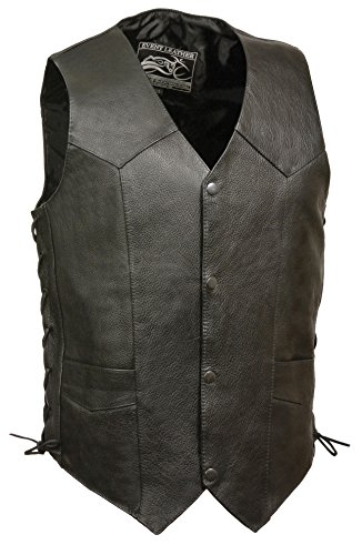 Austin Halloween Events (Event Biker Leather Men's Promo Side Lace Leather Vest (Black,)