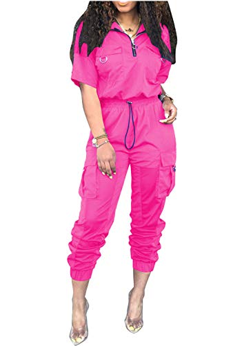 Katblink Women Two Piece Outfits - CasualShort SleeveWindbreaker Pullover Hollow Out Patchwork Pants SetTracksuit Rose Red S (Hollow Out Pullover)