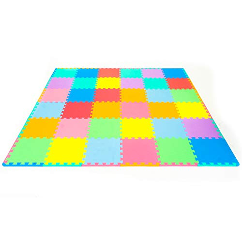 ProSource Puzzle Solid Foam Play Mat for Kids - 36 tiles with edges