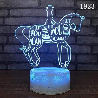 Dibujos animados caballo oveja Animal novedad 3D LED Talbe lámpara de mesa juguetes para niños encantadores luz de noche acrílica decoración de regalo para niños