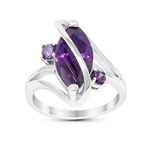 Blue Apple Co. 3 Stone Swirl Fashion Ring Marquise Simulated Purple Amethyst 925 Sterling Silver Size 8 ()